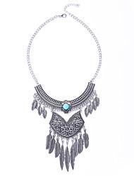 abordables -Mujer Turquesa / Obsidiana Borla Collar - Forma de Hoja Borla, Bohemio, Moda Negro, Azul Gargantillas Para Fiesta, Diario, Casual