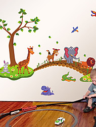 cheap -Zoo Cartoon Animals Giraffe Elephant Lion Bridge Wall Stickers Children's Bedroom Kindergarten Wall Decals