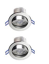 YouOKLight  2PCS 7W  600lm 7-LEDs Warm White/White  LED Ceiling Lamp - Silver (AC 100-240V)