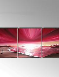 Dipinta a mano Astratto / Paesaggi Dipinti ad olio,Modern / Pastorale Tre Pannelli Tela Hang-Dipinto ad olio For Decorazioni per la casa