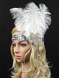 abordables -serre-tête en plumes de strass fleurs style féminin classique