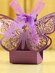 cheap -Round Square Cubic Pearl Paper Favor Holder with Ribbons Printing Favor Boxes - 12