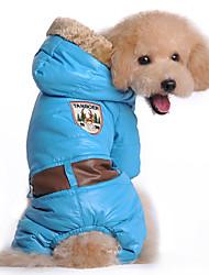 Собака Плащи Толстовки Комбинезоны Одежда для собак Сохраняет тепло Защита от ветра Однотонный Синий Розовый Костюм Для домашних животных