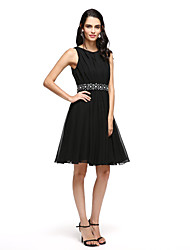 cheap -A-Line Notched Short / Mini Satin Cocktail Party / Prom Dress with Bow(s) Sash / Ribbon by TS Couture®