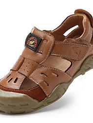 Недорогие -Черный / Коричневый-Унисекс-На каждый день / Для занятий спортом-Наппа Leather-На плоской подошве-Удобная обувь-Сандалии