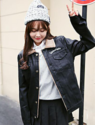 Women's Winter Leather Jacket Long Sleeve Polyester