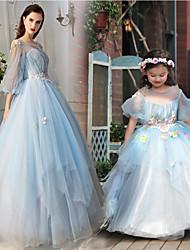 preiswerte -A-Linie Prinzessin Illusionsausschnitt Boden-Länge Tüll Charmeuse Formeller Abend Kleid mit Perlenstickerei Blume(n) durch Huaxirenjiao