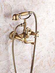 doccetta in dotazione con valvola di ceramica due maniglie due fori per l'ottone antico, rubinetto / vasca da bagno del rubinetto