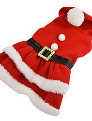 Dog Costume / Dress Red Dog Clothes Winter Solid Cosplay / Christmas