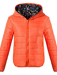 Women's Regular Padded Coat,Simple Casual/Daily Solid-Polyester Cotton Long Sleeve Hooded Red / Black / Orange