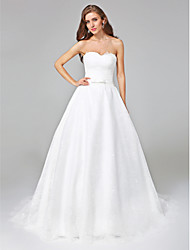 A-Line Sweetheart Court Train Lace Wedding Dress with Pleats by Embroidered bridal