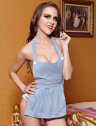 cheap -Women's Ultra Sexy Grid Halter Nightwear Plaid-Thin Cotton Blue