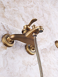 cheap -Shower Faucet - Antique / Art Deco / Retro / Modern Antique Copper Wall Mounted Ceramic Valve / Brass / Single Handle Two Holes