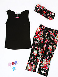 Girls' Floral Clothing Set Spring Summer Fall Sleeveless Floral Black