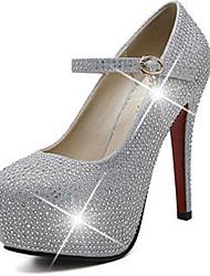 Mulheres Sapatos Gliter Couro Primavera Verão Sapatos clube Tênis com LED Conforto Saltos Salto Agulha Plataforma Presilha para Casamento