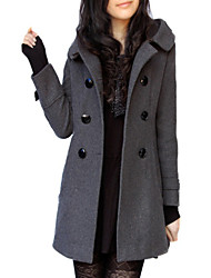cheap -Women's Daily Simple Casual Winter Fall Trench coat,Solid V Neck Long Sleeves Long Wool Polyester