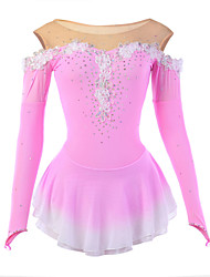 Figure Skating Dress Women's Girls' Ice Skating Dress Pink Spandex Rhinestone Appliques Flower(s) Lace High Elasticity Performance