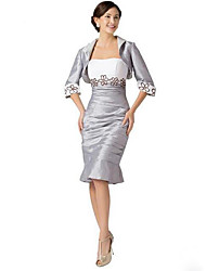 Sheath / Column Square Neck Knee Length Taffeta Mother of the Bride Dress with Embroidery