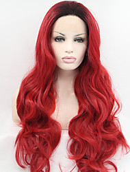 Sylvia Synthetic Lace front Wig Black Roots Red Hair Ombre Hair Heat Resistant Long Natural Wave Synthetic Wigs