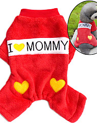 Dog Jumpsuit Pajamas Dog Clothes Cute Casual/Daily Letter & Number Red Blue Costume For Pets
