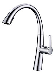 cheap -Contemporary Pull-out/­Pull-down Deck Mounted Pullout Spray Ceramic Valve Single Handle One Hole Chrome, Kitchen faucet