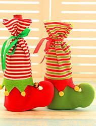 Недорогие -2pcs бутылка вина покрывает сетов Рождественская вечеринка шапка Санта-Клауса одежду для бутылки подарок Xmas красный новый год украшения