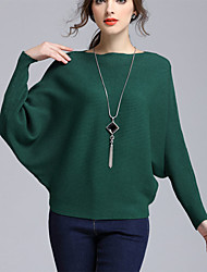 Women's Casual/Daily Simple Regular Pullover,Solid Red White Black Gray Green Boat Neck Long Sleeve Cotton Fall Winter Medium