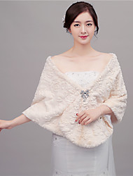 cheap -Faux Fur Wedding Party Evening Women's Wrap With Rhinestone Capes