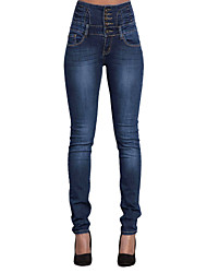 Women's High Rise Micro-elastic Jeans Pants,Casual Street chic Solid Cotton All Seasons