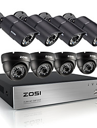 cheap -ZOSI®HD 720P 8CH CCTV System DVR 8PCS 1200TVL IR Weatherproof Outdoor Video Security Camera System