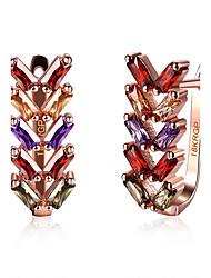 abordables -Femme Diamant synthétique Boucles d'oreille goutte - Zircon, Imitation Diamant Cœur Mode Arc-en-ciel Pour Mariage Soirée Quotidien
