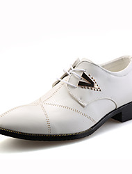 cheap -Men's Shoes Leather Spring Fall Oxfords Lace-up for Casual White Black Light Brown
