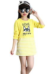 Mädchen T-Shirt-Lässig/Alltäglich einfarbig Polyester Frühling / Herbst Rot / Weiß / Gelb
