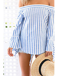 Women's Off Shoulder/Fine Stripe Going out / Casual/Daily Sexy T-shirt,Striped Boat Neck Long Sleeve Blue Cotton