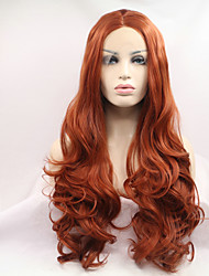 cheap -Synthetic Lace Front Wig Wavy Middle Part Natural Hairline Red Women's Lace Front Carnival Wig Halloween Wig Natural Wigs Long Synthetic