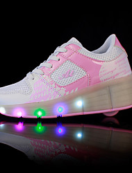 cheap -Girls' Shoes PU Spring / Summer / Fall Comfort / Light Up Shoes Athletic Shoes Wedge Heel Round Toe Lace-up / LED Black / Blue / Pink