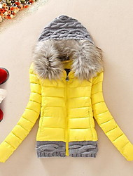 Women's Short Padded Coat,Casual Daily Solid-Cotton Polyester Polypropylene Long Sleeves Hooded