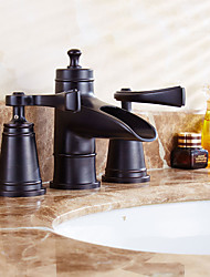 antico valvola di ceramica diffuso due manici tre fori con bagno in bronzo olio-lucidato rubinetto lavabo