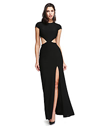 cheap -Sheath / Column Jewel Neck Ankle Length Jersey Formal Evening / Holiday Dress with Buttons / Split Front by TS Couture® / Cut Out