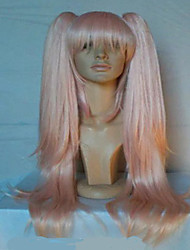 cheap -Synthetic Wig Straight Pink With Ponytail Synthetic Hair Pink Wig Women's Capless