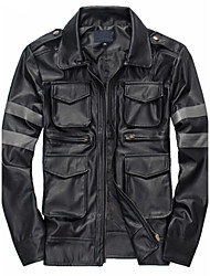 cheap -Men's Daily Casual Leather JacketsSolid Shirt Collar Long Sleeve Fall / Winter Black PU Thick