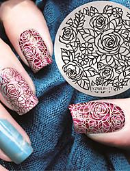 cheap -Manicure Circular Plate Rose Blue Membrane DIY Stamp Printing Template