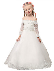 Ball Gown Floor Length Flower Girl Dress - Lace 3/4 Length Sleeves Off-the-shoulder