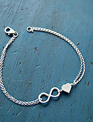 cheap -Women's Girls' Heart Infinity Chain Bracelet Charm Bracelet - Unique Design Basic Love Infinity Gold Silver Bracelet For Party Gift Daily