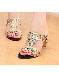 baratos -Mulheres Sapatos Gliter / Couro Ecológico Verão Chanel Sandálias Caminhada Salto Robusto Dedo Apontado / Dedo Aberto Gliter com Brilho