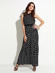 Недорогие -сладкий кривой женщин пляж / плюс размер Boho качели платье, польки круглой шеи макси без рукавов черный полиэстер летом