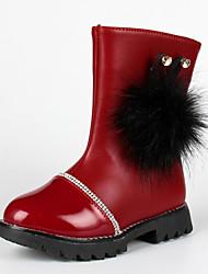 Girl's Boots Fall Winter Comfort PU Casual Flat Heel Black Red Burgundy Walking
