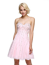 A-Line Sweetheart Short / Mini Chiffon Cocktail Party Homecoming Prom Dress with Beading Crystal Detailing by TS Couture®