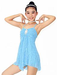 Robes Femme Enfant Spectacle Elasthanne Polyester Ruchés plongeants Plissé Sans manche Taille moyenne Robe Coiffures