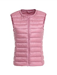 Women's Regular Padded CoatSimple / Street chic Plus Size Waistcoat All Match Slim Solid Hooded